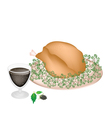 Delicious Roast Turkey and Herbs with Blackberry vector image
