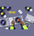 dj hands on sound mixer console panel music vector image