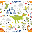 doodle dinosaur pattern seamless fabric print vector image