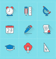 Education icons icon set in flat design style For vector image vector image