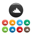 exploration of mountain icons set color vector image vector image