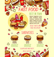 fast food burger and sandwich menu banner template vector image vector image