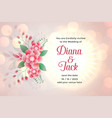 flower wedding card template with space for text vector image vector image
