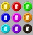 fork knife spoon icon sign symbol on nine round vector image vector image