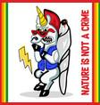 funny cannabis weed unicorn vector image vector image