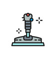 game joystick gamepad flat color line icon vector image