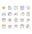 gift line icons present offer and sale vector image vector image