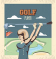golf player woman in course vector image vector image