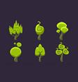 green fantasy shape trees set fantastic landscape vector image vector image