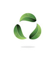 green recycling icon stylized and made out thre vector image