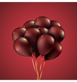 Group purple balloons depicted on a red background vector image