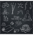 Hand drawn doodle yoga symbols icons and asanas vector image vector image