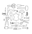 Hand drawn Leather working tools vector image vector image