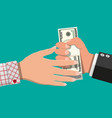 hand giving money to other hand vector image vector image