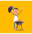 Happy man with barbecue cartoon vector image