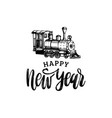 happy new year hand lettering with toy vector image