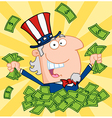 Happy uncle sam playing in a pile of money vector | Price: 1 Credit (USD $1)