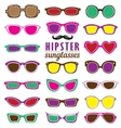 Hipsters colorful sunglasses set vector image vector image