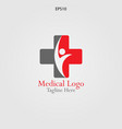 human in the cross logo for medical and vector image vector image