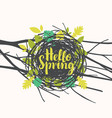 inscription hello spring in nest with leaves vector image