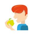 man eating fruit vector image