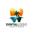 modern dental on beach logo design inspiration vector image