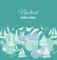 nautical background with sailing vessels and wheel vector image vector image