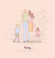 parents with children holding hands couple with vector image