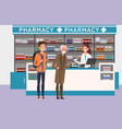 people buying medicine at drugstore medical theme vector image