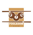 pool room show promotional emblem in sepia colors vector image vector image