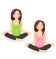 Pregnant woman practicing yoga in lotus pose vector image