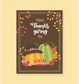 pumpkins with hat apple leaves happy thanksgiving vector image vector image