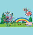 scene with many circus rides in park vector image vector image
