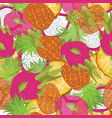 seamless pattern of exotic fruits picture slice vector image vector image