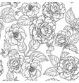 seamless pattern with camellia flowers black vector image