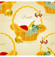 seamless texture fruit in a wicker basket vector image vector image
