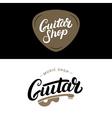 set guitar shop hand written lettering logos vector image vector image