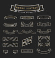 set of retro vintage ribbon design elements vector image