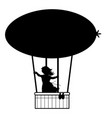 silhouette girl flies up air balloon vector image