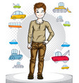 teen cute little boy standing wearing fashionable vector image