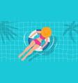 top view beautiful girl in swimming pool vector image