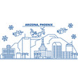 usa arizona phoenix winter city skyline merry vector image vector image