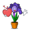 with heart iris flower mascot cartoon vector image