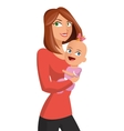 woman holding baby girl icon vector image