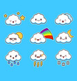 cartoon cute cloud kawaii character with different vector image