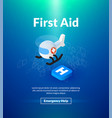 first aid poster of isometric color design vector image