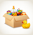 Toys in box vector image