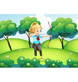 a girl with an archer at the hilltop vector image