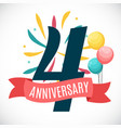 anniversary 4 years template with ribbon vector image vector image