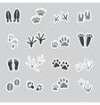 basic animal footprints stickers set eps10 vector image vector image
